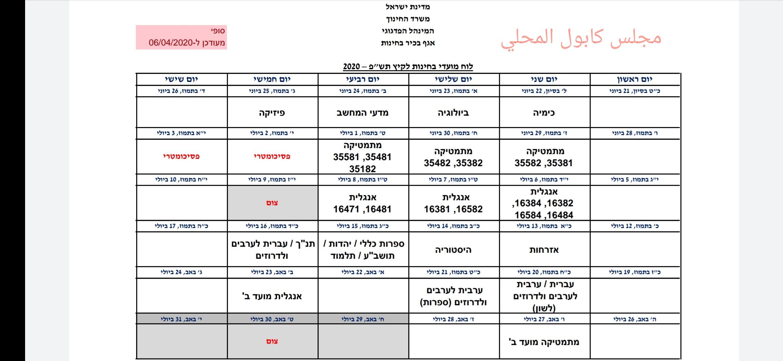 وزارة المعارف تنشر مواعيد امتحانات البجروت صيف 2020
